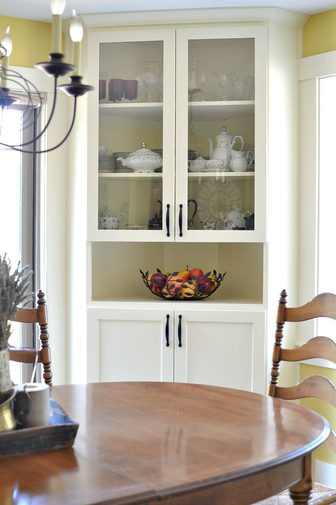 built in corner china cabinet in dining room atthepicketfence.com