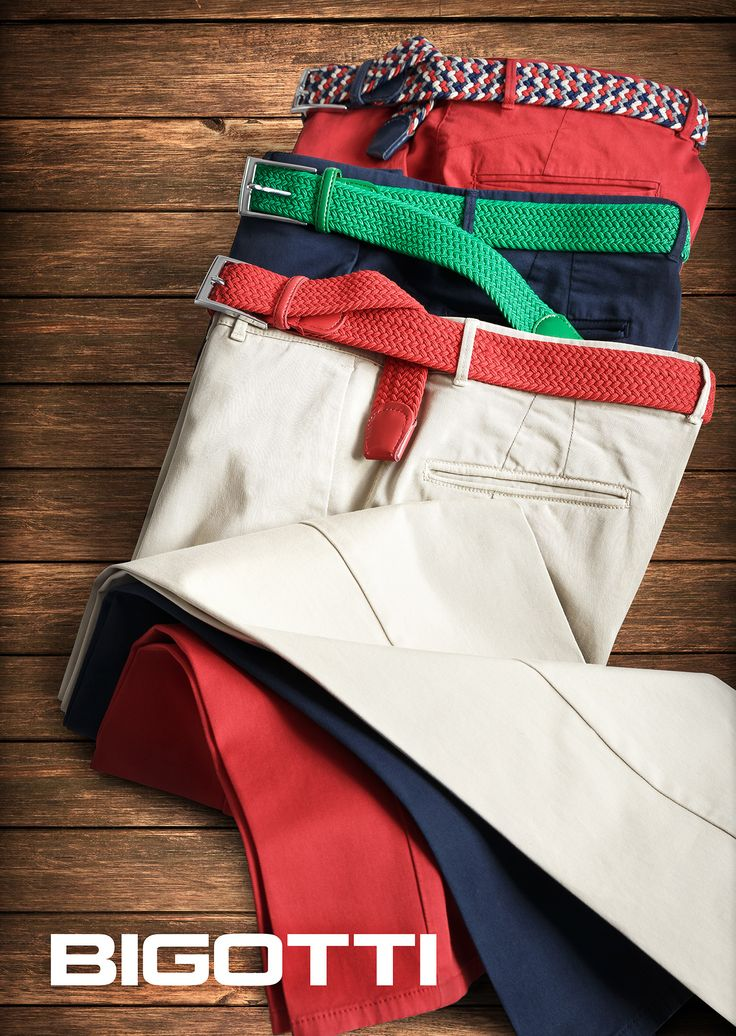 #Chinos and #coloured #belts - the #irresistible #pieces of this #season.  They are not just #trendy, but also very #easy to #wear. Dont limit your #dress #style, nor condition to matching your #shoes.   More in #Bigotti #men #clothing #stores and on www.bigotti.ro