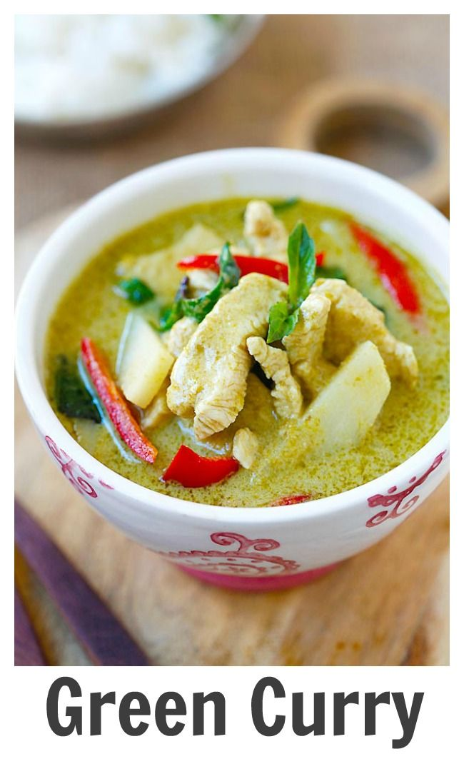 Thai Green Curry – delicious and easy green curry with chicken. I added baby corn, eggplant, and cilantro to the dish.