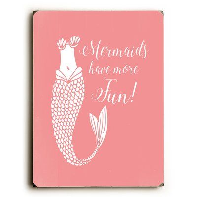 Viv + Rae Mermaids Have More Fun Salmon Graphic Art on Wood