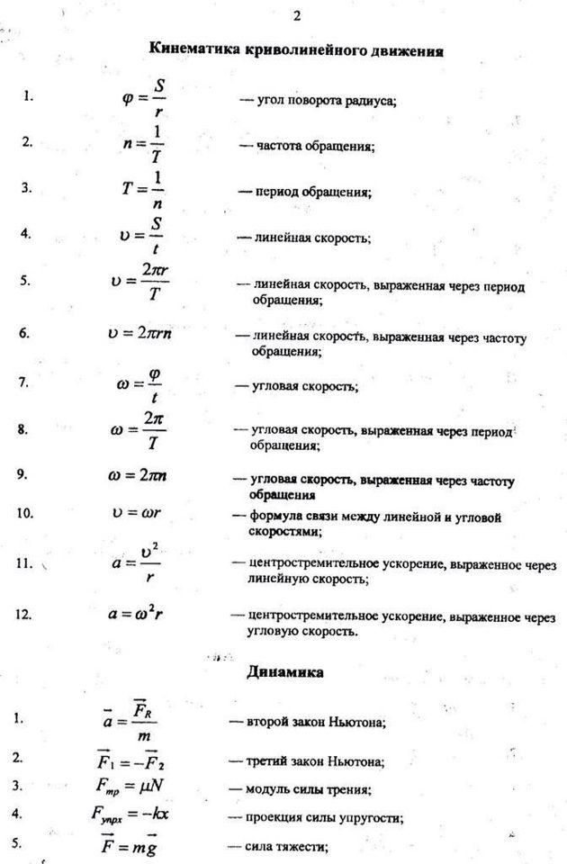 Формулы и в физике 9 класс