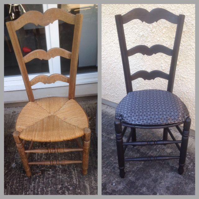 chaise en paille relook e chaises relook es pinterest relooker pailles et chaises. Black Bedroom Furniture Sets. Home Design Ideas