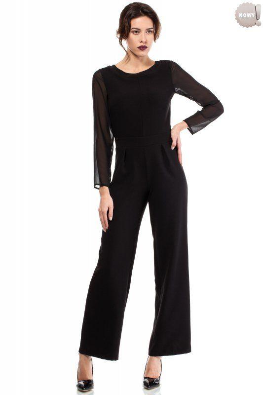 Elegancki kombinezon damski z szyfonowymi rękawami i poszerzonymi ku dołowi nogawkami. Zapinany z tyłu na zamek błyskawiczny. #spodnie #długie #eleganckie #czarne #kobieta #moda #trendy