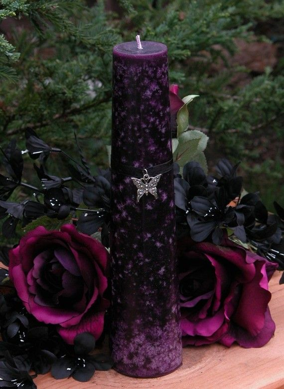 Magick Butterfly Tapered Pillar Candle . For