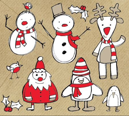 Christmas Sketch Vectors designed by Chris Spooner and available in a free download pack from his blog, SpoonGraphics (http://blog.spoongraphics.co.uk/freebies/free-christmas-themed-sketchy-vector-graphics-pack).