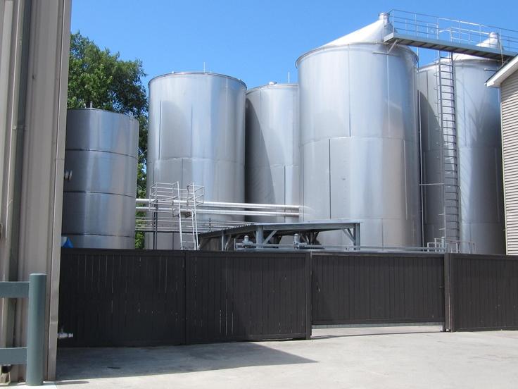 massive vats of wine
