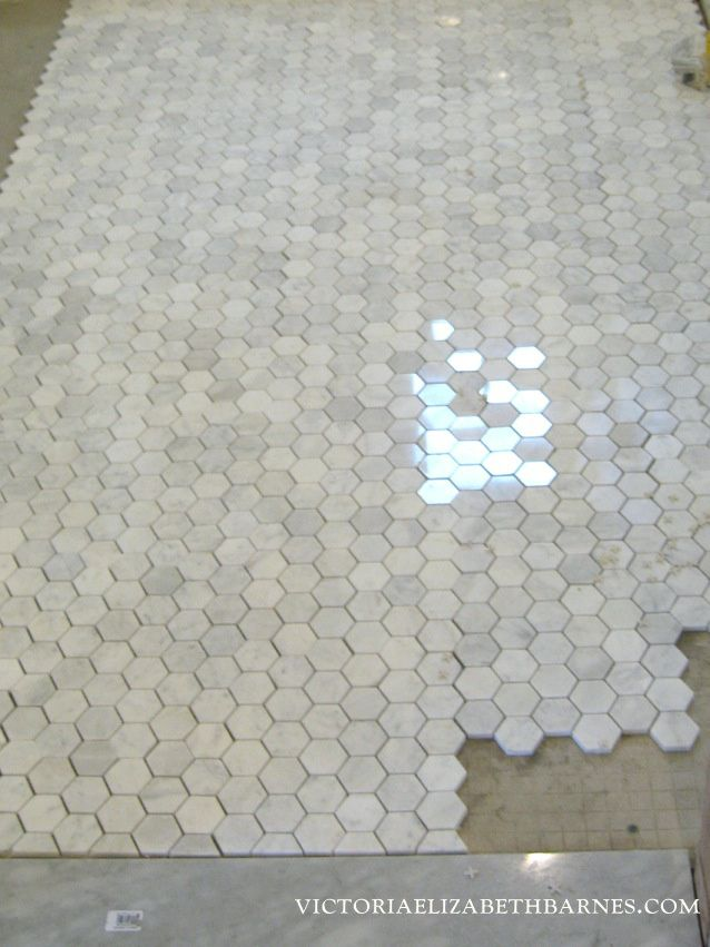 """2"""" Polished Carrara Hexagon... My favorite tile in the entire world. This is the feeling I was trying to re-create in our 2nd bath remodel."""