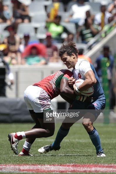 France's Jean Pierre Gilles Lakafia ® is tackled by... #amonde: France's Jean Pierre Gilles Lakafia ® is tackled by Kenya's Andrew… #amonde