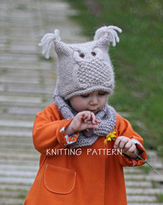 Owl Hat Knitting Pattern Chouette Toddler Child by KatyTricot