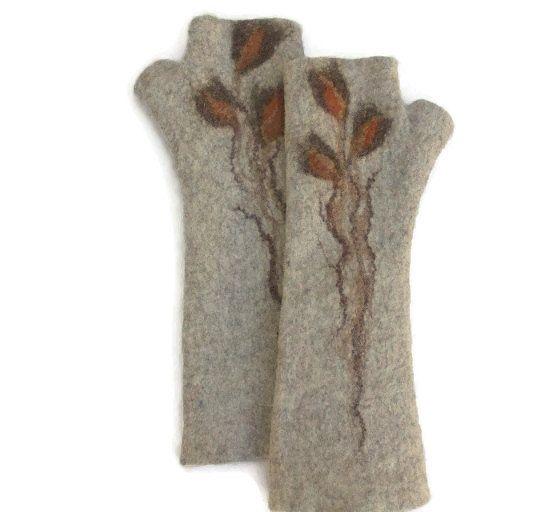 Long Felted Fingerless gloves Fingerless Mittens Arm by LBFelt