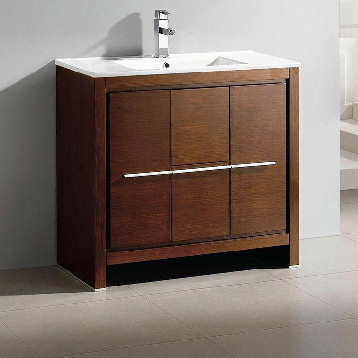 """Fresca Allier 36"""" Wenge Brown Modern Bathroom Cabinet w/ Sink (Allier 36"""" Modern Bathroom Cabinet w/ Sink), Size Single Vanities"""