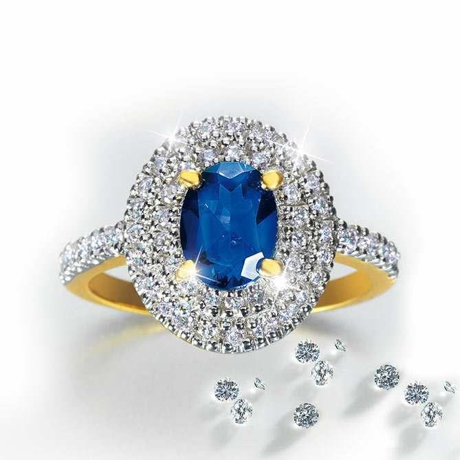 Anillo De Oro Zafiro Y Diamantes Compromiso Real Galería Del Coleccionista Joyeria Online Joyeria Anillos De Oro