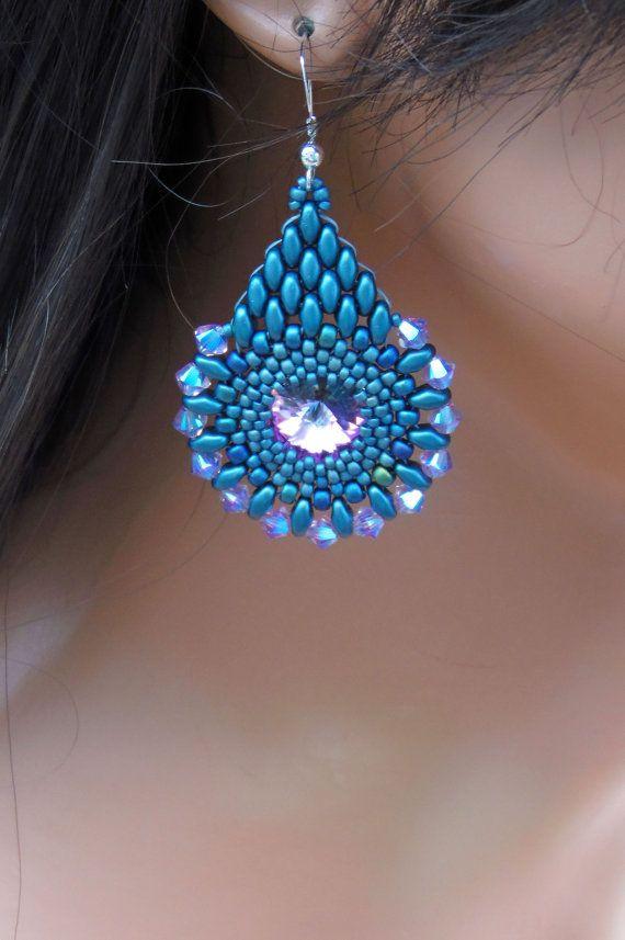 Blue Denim & Pink Earrings Teardrop Shape by CreationsbyWhiteWolf