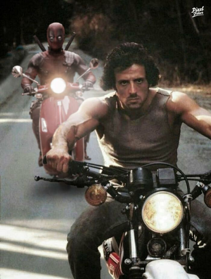 Artist Creates 50 Hilarious Edits Of Characters Being In Situations They Don T Belong In Sylvester Stallone Funny Memes Sylvester