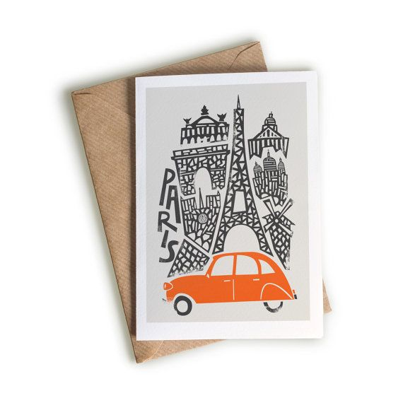16 best travel greeting cards images on pinterest greeting cards paris card a6 size wedding card eiffel tower city artwork famous m4hsunfo Images