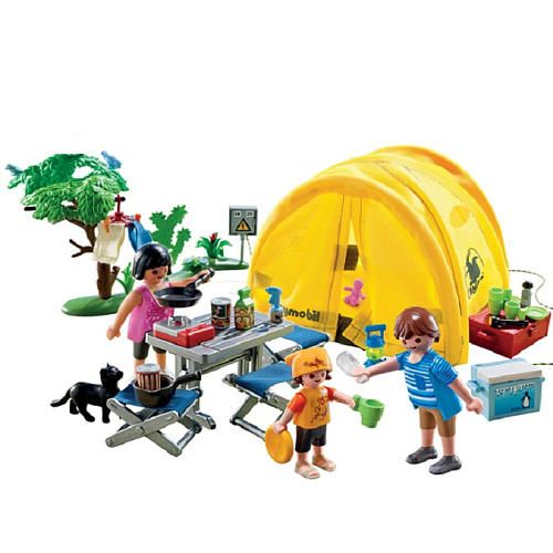 Playmobil family camping trip table and chairs toys and for Table playmobil