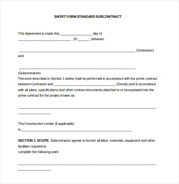 subcontract agreement format