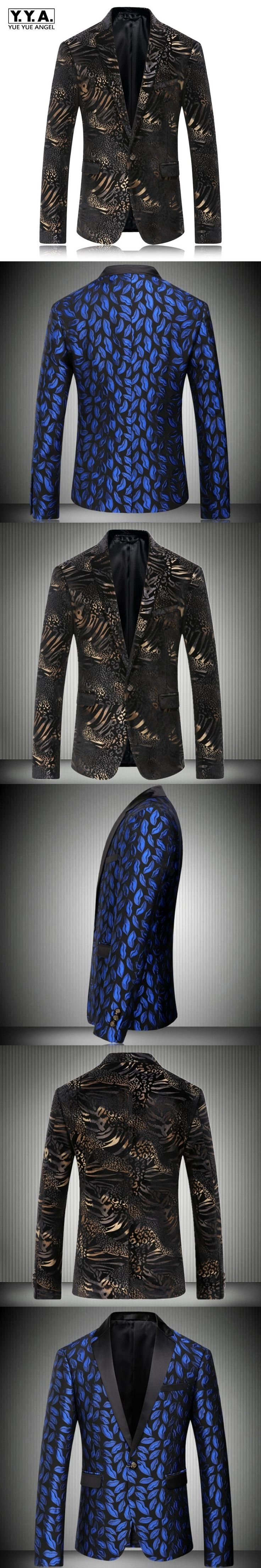 High Quality Fashion Royal Blue Mens Suit Coat Floral Printing Business Blazers Male Wedding Suit Formal Jackets Plus Size Free