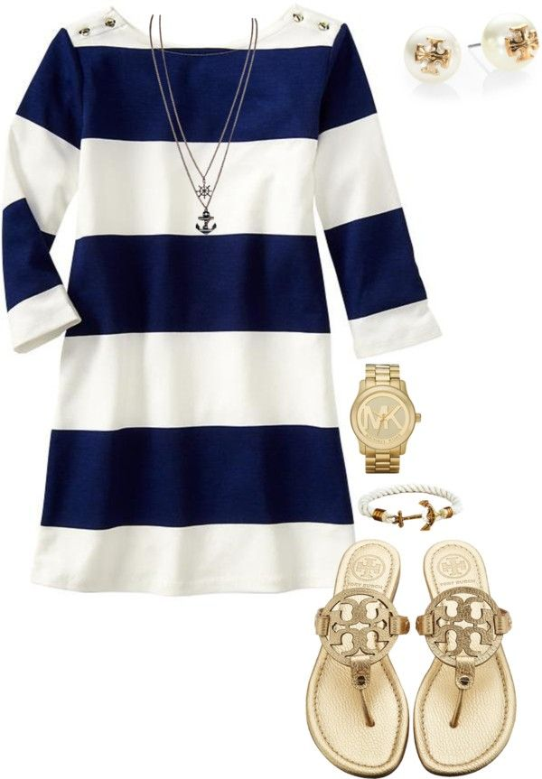 Navy + white striped dress + Tory Burch Miller sandals Pink shorts, a pullover and pearls-- Vineyard Vines #vineyardvines Preppy style looks and outfits --Pinspiration Fashion from Frosted Events Blog @frostedevents #preppy #style