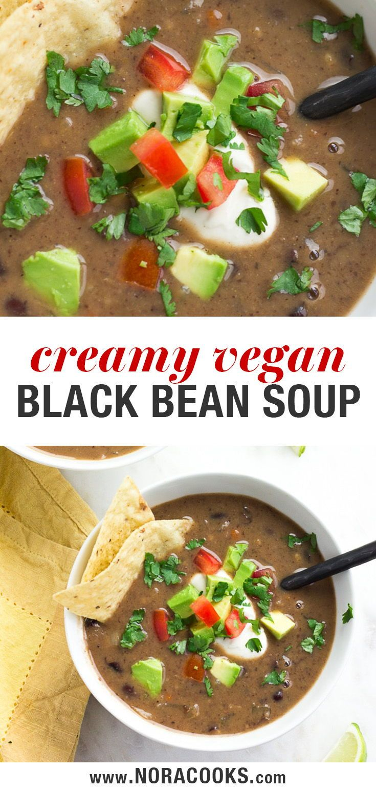 A Quick And Easy Vegan Black Bean Soup Recipe Made From Canned Beans Creamy Healthy And Deliciou Black Bean Soup Recipe Vegan Soup Recipes Bean Soup Recipes