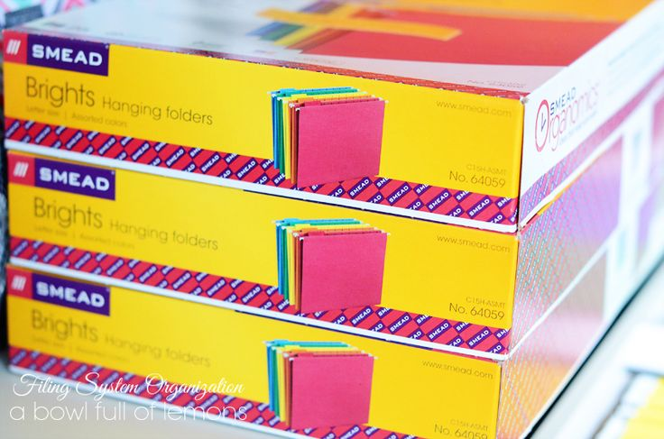 """To organize our paperwork, I used the Smead """"Brightshanging file folders. Each box comes with 5 colors."""