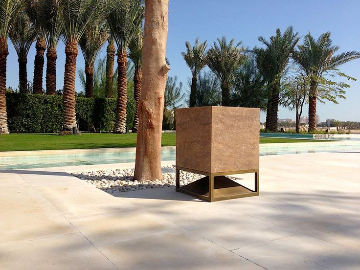 Cube in travertine, omnidirectional sound module designed by Vladimir Djurovic for Architettura Sonora