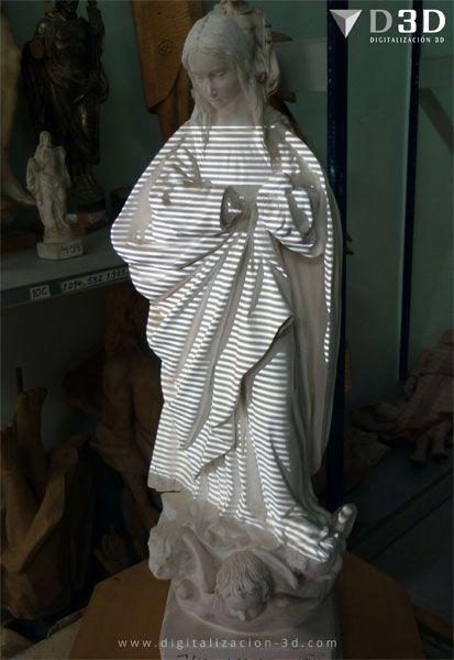 Escaneando en 3d una Virgen Inmaculada de escayola