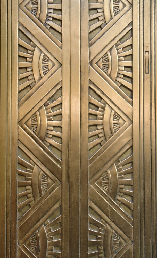 Art Deco Metal Door. Computing & Library Services, University of Huddersfield.