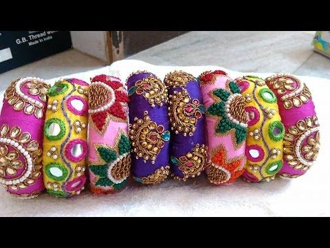 Making silk thread checker model bangles tutorial - YouTube