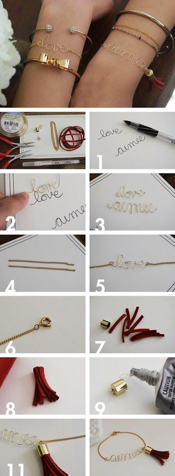 DIY a wire love or name bracelet.You can write 'love, your name, or any inspirational word. #bracelet #DIY The metal chain:www.eozy.com/10-meters-golden-plated-irony-link-chain-accessory-jewelry-make-findings