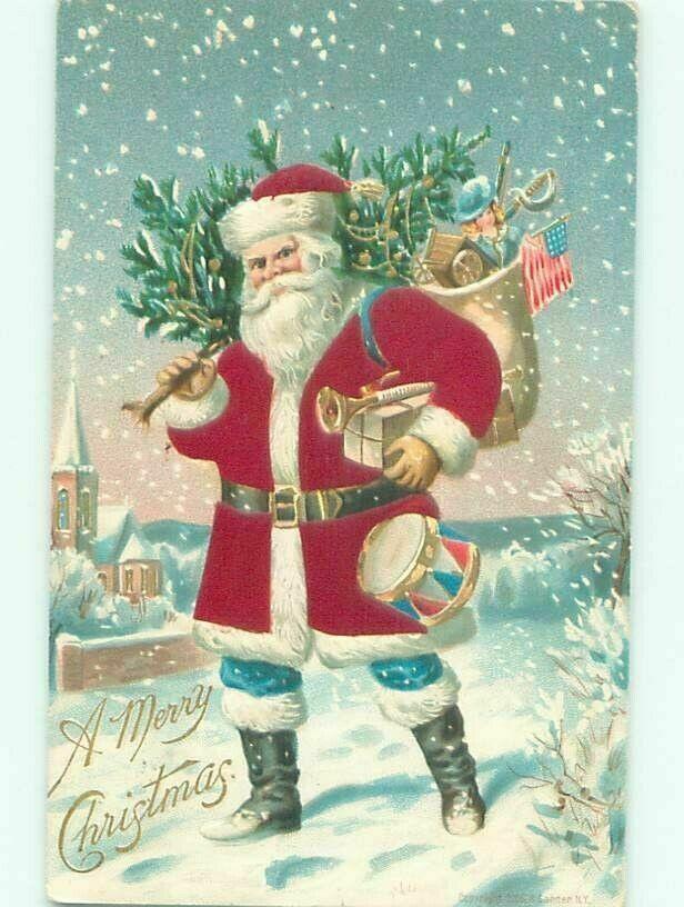Patriotic Santa Christmas Tree Quilt Block Multi Szs FrEE ShiPPinG WoRld WiDE