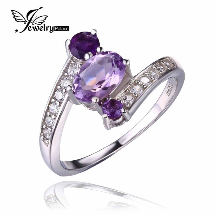 JewelryPalace Pure 925 Sterling Silver 0.9ct Natural Amethyst 3 Stone Anniversary Ring Oval Fashion Engagement Jewelry For Women