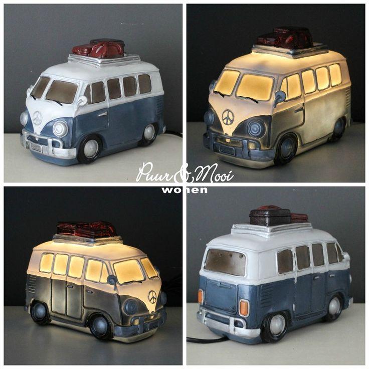 VW Bus met Koffers Tafellamp Blauw/Grijs