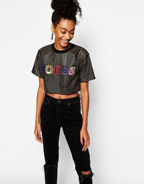 The Ragged Priest Jokes Sequin Cropped Dotty Disco Top