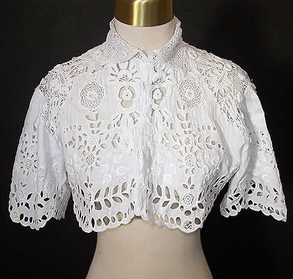 """Broderie Anglaise is a type of whitework needlework that usually features eyelets and buttonhole stitches. I always confused eyelet with broderie anglaise,  but broderie anglaise is more elaborate and much more time consuming and often features floral patterns.""  It became popular in the 19th century in England and may have come or been inspired from the delicate and ornate Ayrshire needlework (Scotland). Broderie anglaise was mostly used on linens, undergarments, and christening gowns."