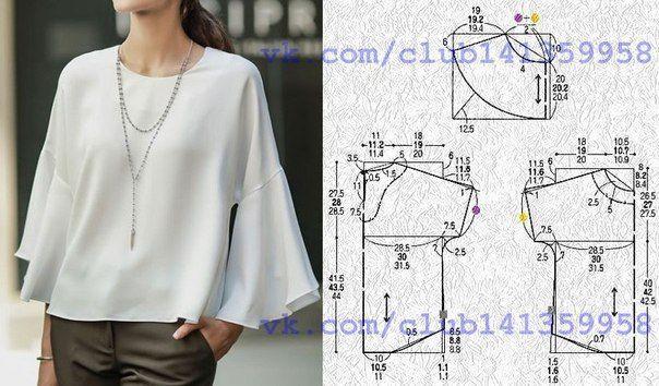 Блузка с воланами на рукавах, выкройка на размеры 40/42, 44, 46/48 (рос.). #простыевыкройки #простыевещи #шитье #блузка #блуза #выкройка