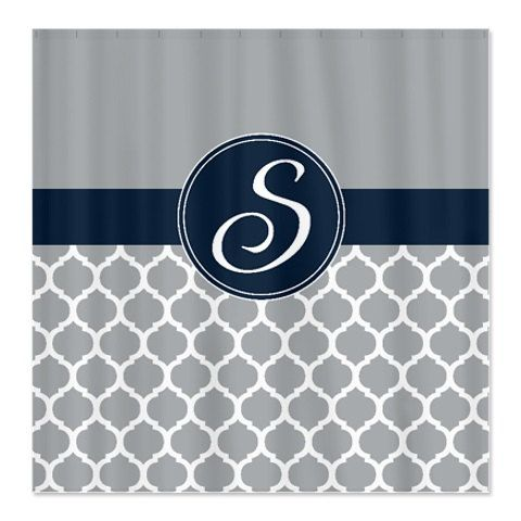 Custom Quatrefoil Shower Curtain Personalized With Monogram Initial Navy  Blue Grey White