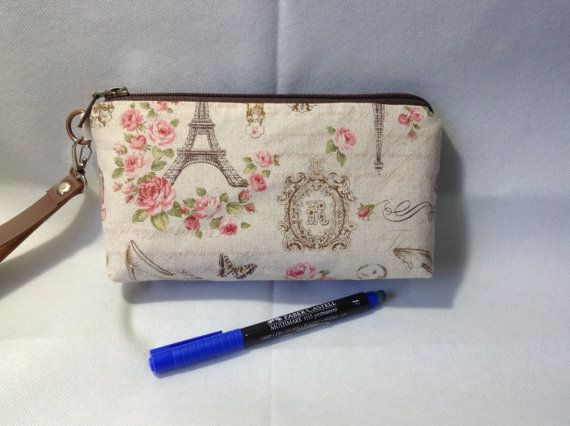 mini clutch zip pouch Eiffel  cosmetic pouch by KatunKatunBags