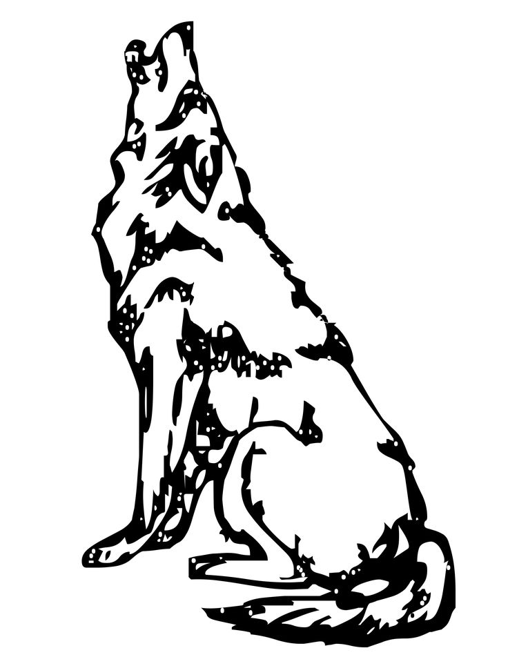 wolf howling at the moon coloring pages