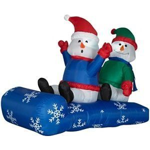 LED Inflatable Airblown Two Snowmen on a Sled ! Hands up Hats on ! by Trim A Home. $64.95. Made for Indoor and Outdoor Use. Made from Weather Resistant Material. Lights Up for Nighttime Use. Self Inflates in Seconds. Everything is Included for an Easy Setup. Trim A Home LED 2 Snowman on Sled Christmas Airblown Inflatable
