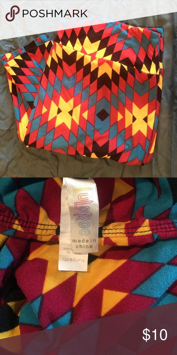 Lularoe tall &a curvy multi color leggings Cute geometric pattern. Golden yellow, trap, maroon and black.  Tall and curvy. Good condition. LuLaRoe Pants Leggings