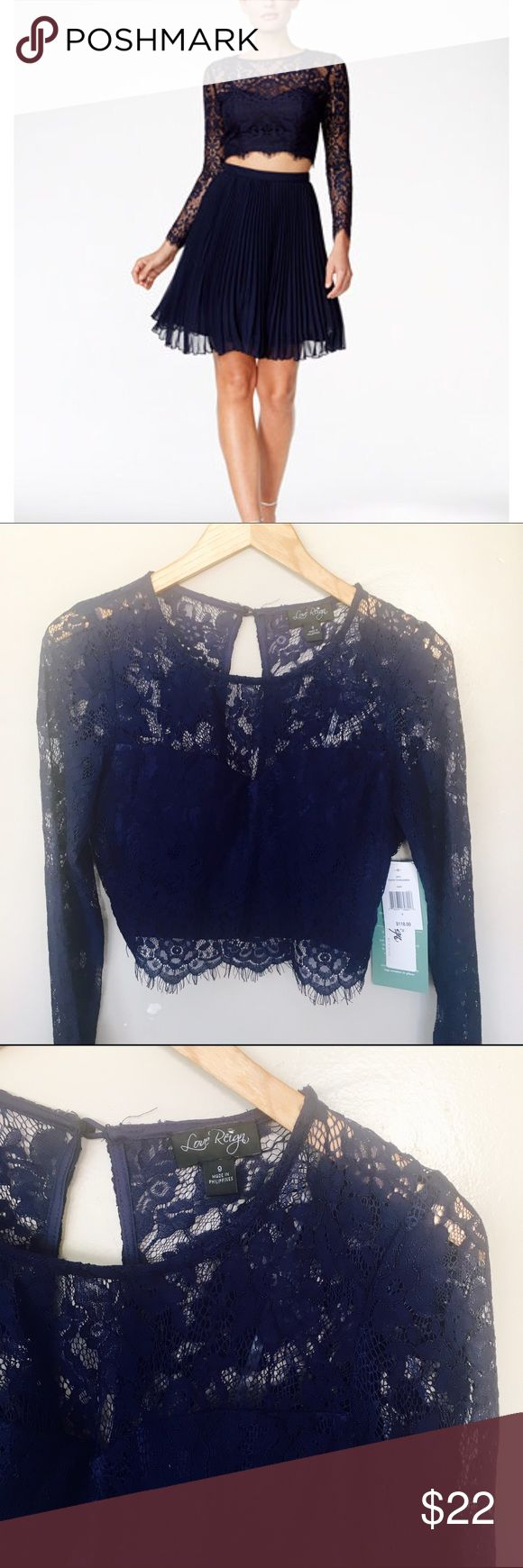 NWT Love Reing lace crop top Love Reing by as u wish navy blue crop top with long sleeve sz9 Tops Crop Tops