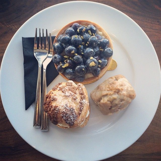 A blueberry tart, a blackberry cream puff, and a maple glazed carrot loaf walk into a pastry shop...