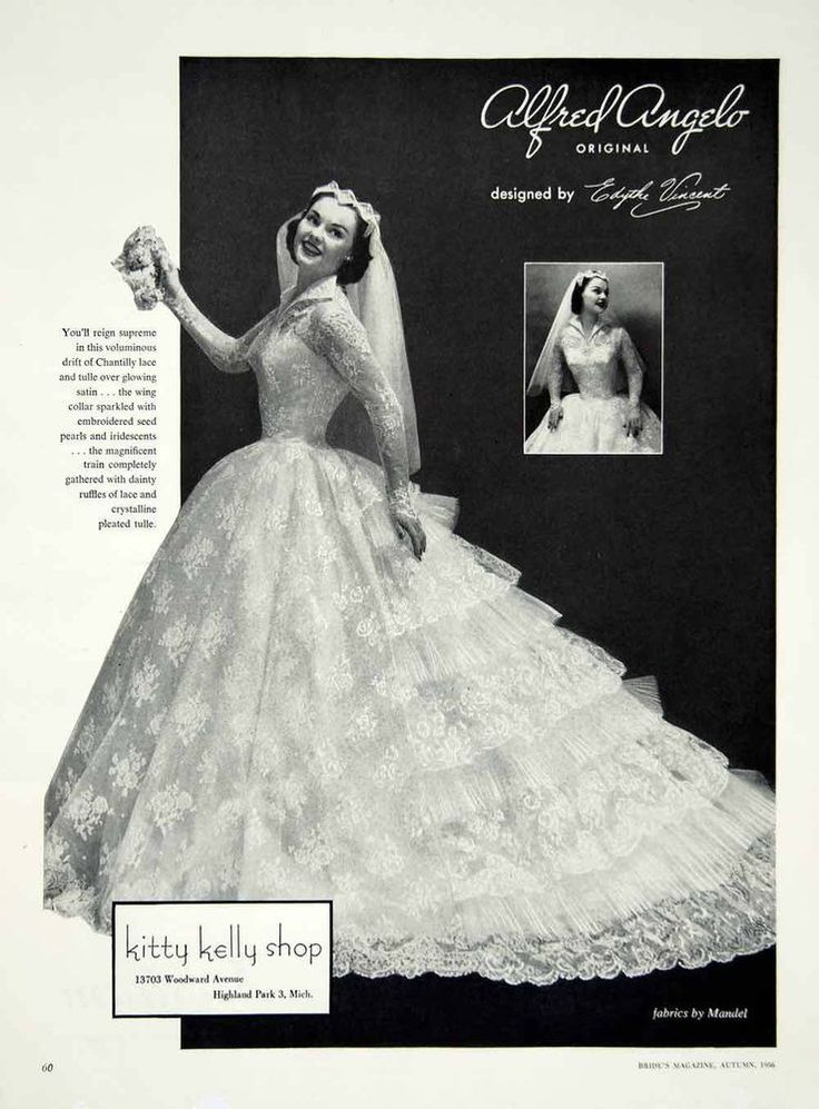 1956 ad alfred angelo vintage wedding dress edythe vincent for Alfred angelo black and white wedding dress