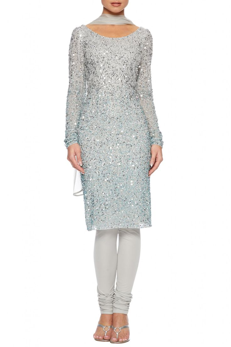 Silver beaded churidar suit - would prefer short sleeves.