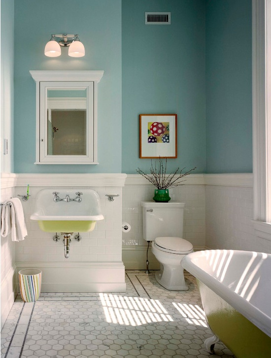 Bathroom colours are great. I love the floor too!
