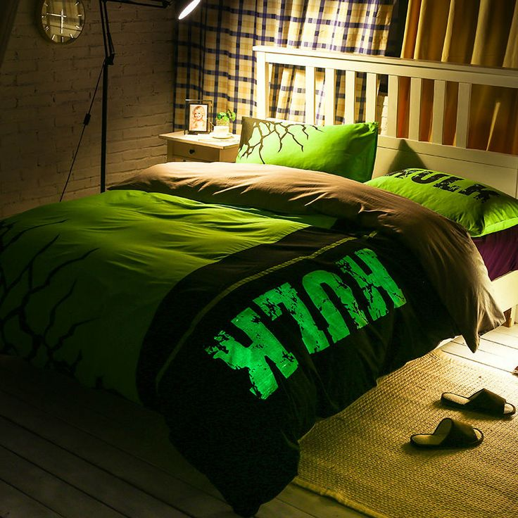 hulk glow bedcover Super heroes series bedclothes night-luminous duvet cover bedding sets for double bed fast shipping