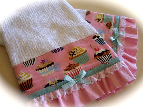 Two Matching Kitchen Towels Embellished With Cupcake Fabric, Lace, Bow And  Ruffle. How Lovely For The Shabby Chic Kitchen.
