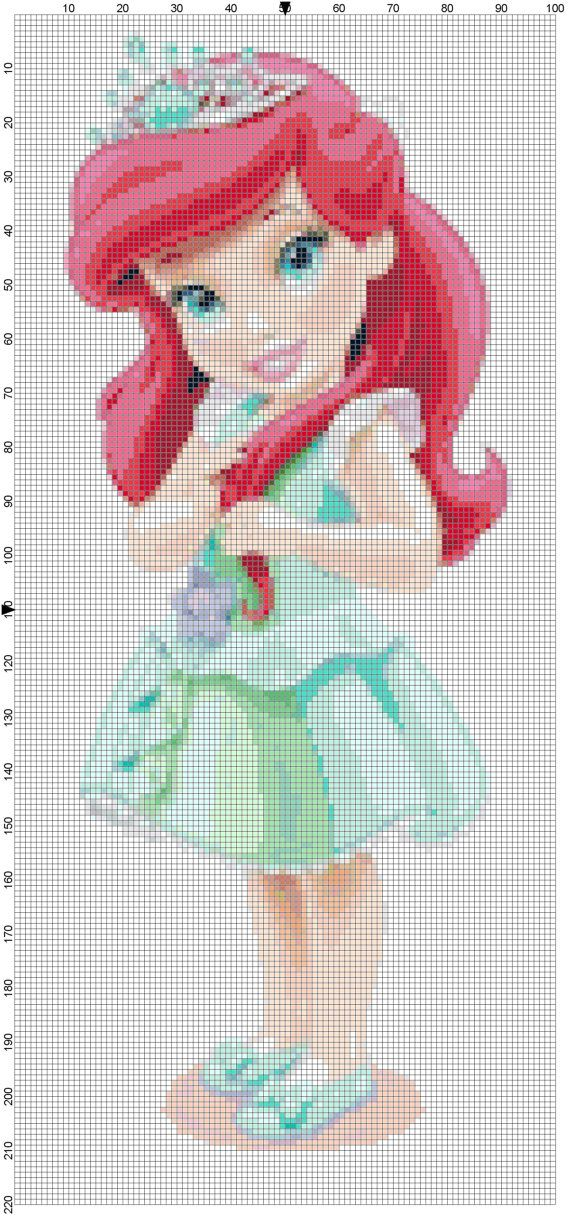 Mini Ariel cross stitch pattern PDF