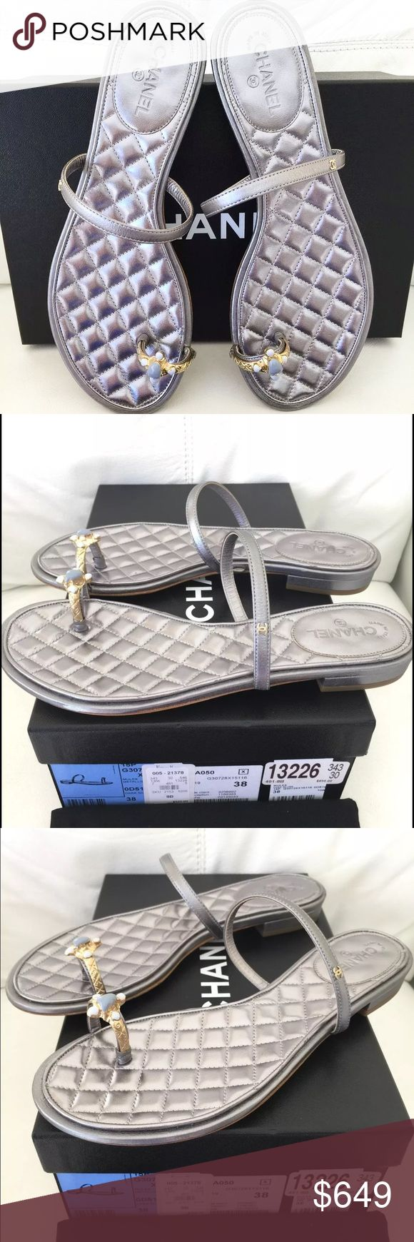 CHANEL TOE RING SILVER FLAT SANDALS SHOES 38 FLATS Come with CHANEL original box AND DUST BAG     These are AMAZING and SUPER COMFORTABLE!!!!!  Description:  ·      Color: silver   ·      Size: 38 CHANEL Shoes Sandals